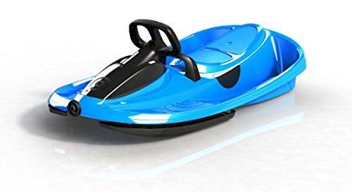 Slittino biposto colore blu, slittino 2 posti con volante e freno, bob a 2 con portata max 120 kg, slittino da neve 2 posti con sistema di riavvolgimento automatico, slittino con sterzo differenziale