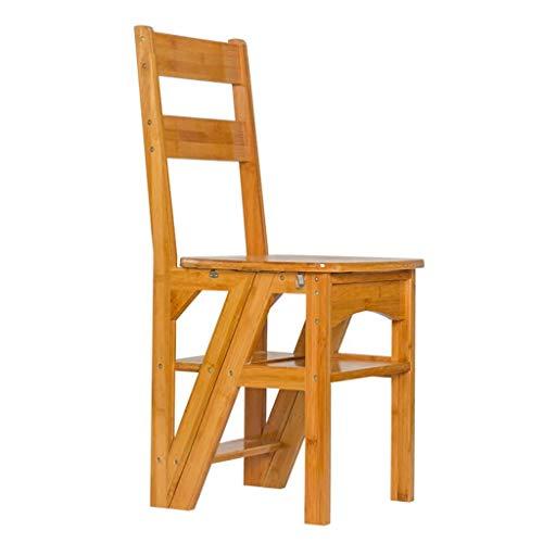 Scaletta sedia a pioli in legno massiccio coperta multifunzione scaletta a quattro gradini cucina sgabello a piega pieghevole scala mobile porta-vasi (color : wood color, size : 39.5 * 46 * 90cm)