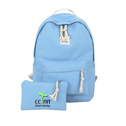 SUNNSEAN Tasche,Jungen Mädchen Lässig Rucksack Schulter Bookbags Rein Schultasche Satchel Travel Canvas Rucksack Ledertasche für Mädchen (Blau) (Fendi Canvas Handtasche)