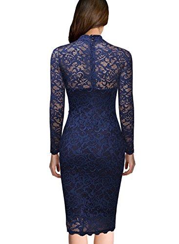 Miusol Damen Spitzen Cocktailkleid Elegant Abendkleid Brautjungfer Ballkleid Rundhals Langarm Stretch Kleider Dunkleblau Gr.XL -