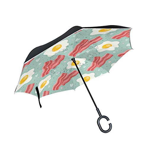 SKYDA Umkehr-Regenschirm, Ei-Speck, umgekehrt, doppelschichtig, Winddicht, Regenschirm für Auto und Regen im Freien, mit C-förmigem Griff