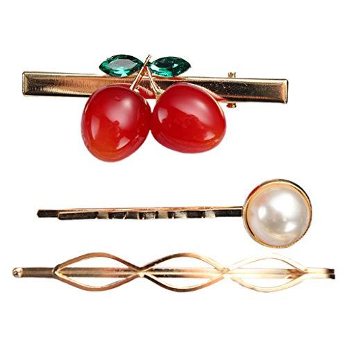 Viesky 3 Teile/Satz Japanische Frauen Mädchen Süße Harz Kirsche Haarspange Lustige Buchstaben Imitation Perle Perlen Haarnadeln Spirale Ein Wort Haarspange -