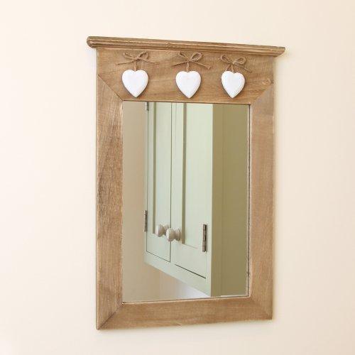Dibor - French Style Accessories for the Home Rustikal Natur Holz Spiegel mit Herzen zum Aufhängen