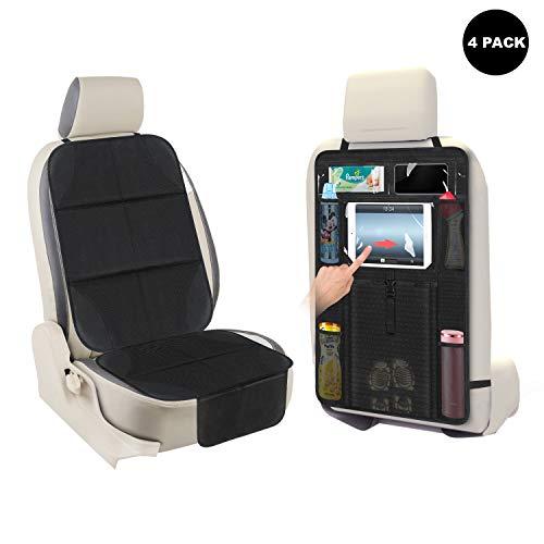 AOAFUN 2 Set Kinderauto-Seat Protector Kick-Matte Auto-Sitz-Rückenprotektor, Extra große Aufbewahrungstasche, verhindert Schmutz und Schaden-ermöglicht einfachen Zugang zu Baby-Artikel! (Schwarz)
