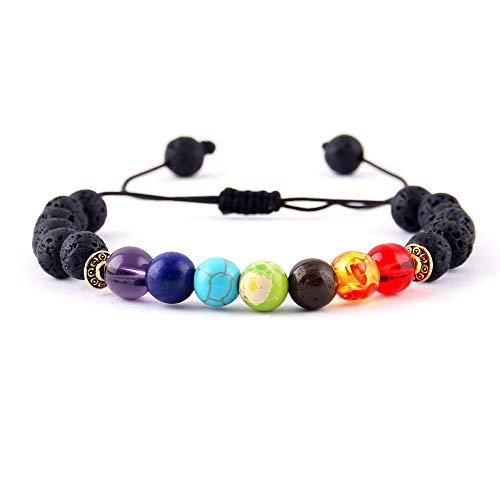 Imagen de wyhong yoga 7 cuentas de piedra pulseras del encanto de cristal brillantes chakras curación equilibrio macramé trenzan las mujeres pulseras y brazaletes de hombre accesorios metal color  4254a