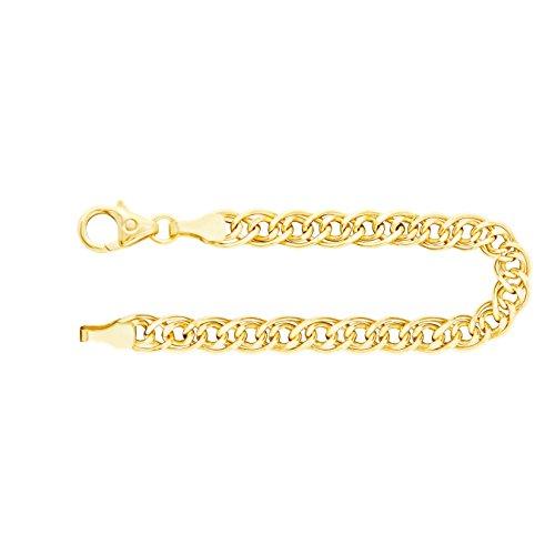 Armband Zwillingspanzerkette Gelbgold 585/14 K, Länge 21 cm, Breite 4.8 mm, Gewicht ca. 4.2 g, NEU - Herren Gelb 14k Gold Armband