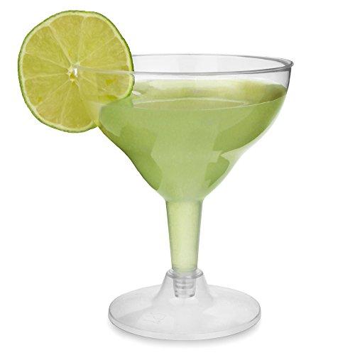 Verres à margarita jetables en plastique transparent 200 ml - Lot de 12 - 2 verres à cocktail en plastique transparent