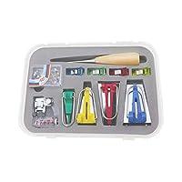 BiasBindingMaker Set, Bias Tape Maker Set of 4 Sizes 6mm/12mm/18mm/25mm Sewing Quilting Tool with Tape Binding Presser Foot Wonder Clips