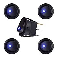 Blue LED Illuminated Round Rocker Switch Toggle Switch Press Button On/Off 12v 20A Car Van Dash Light for Car Auto Boat Truck Trailer Household Appliances, 5 Pack 18