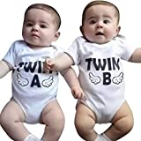Baby Twins Short Sleeved Romper Twin A B, Newborn Infant Baby Boys Girls Short Sleeve Bodysuit Twins Romper Clothes (White B, 0-6 Months)