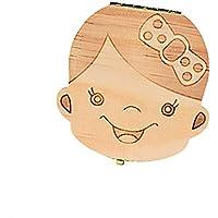 Lubier 1Pcs Caja de dientes de hoja caduca Bebe Creativo madera Los dientes Caja de almacenamiento