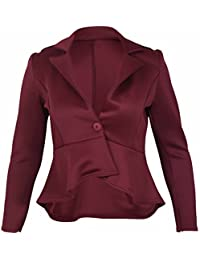 Purple Hanger - Veste Blazer Femme Peplum Vrille Equipée Manches Longues Evasée Slim Grande Taille