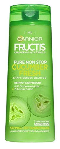 Garnier Fructis Pure Non Stop Cucumber Fresh Shampoo, reinigt, kräftigt und erfrischt, für schnell fettendes Haar, 6er-Pack (6 x 250 ml)