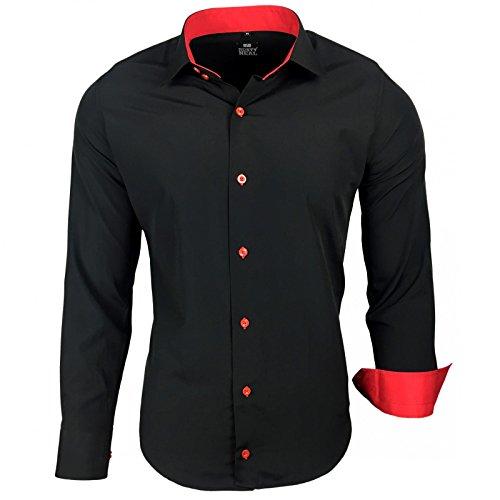 Herren Hemd Hemden Business Hochzeit Freizeit Slim Fit S M L XL XXL 44, Größe:M, Farbe:Schwarz/Rot