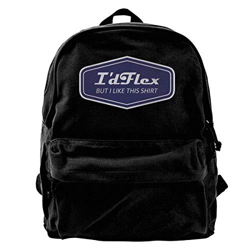 I_d Flex But I Like This Shirt Canvas Backpack for Men Women Lightweight Travel Backpack College Student