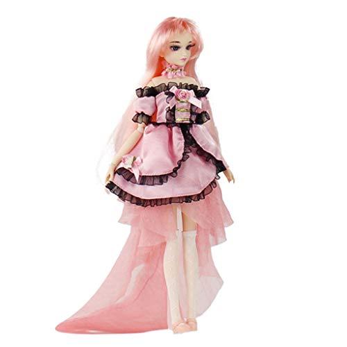 Homyl 30cm Modelo de Muñeca Chica Vestido Lindo de 14 Articulaciones Movible para Doll Anime Muñecas - Rosa Claro