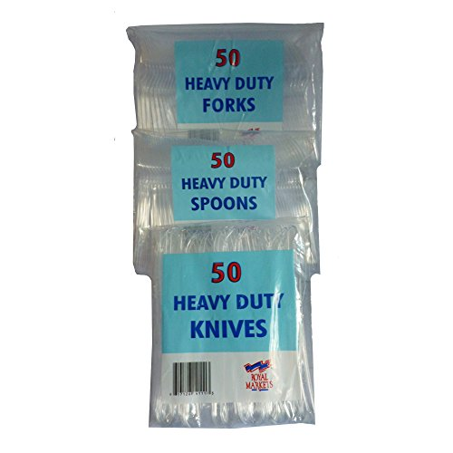 150 Heavy Duty Clear Plastic Cutlery (50 Fork, 50 Knives, and 50 Spoons)