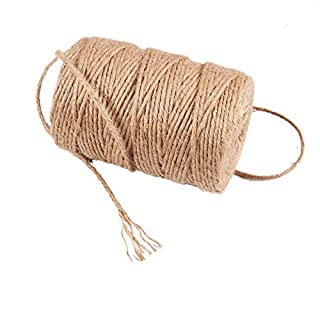 Hongding Hemp Rope 3mm 6-Ply 91m/100Yard 100% Natural Strong Jute Rope DIY Arts Crafts Gift Twine and Clips