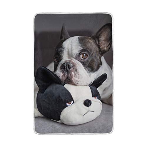 vinlin - Manta con diseño de Bulldog francés, de Terciopelo, acogedora Manta...