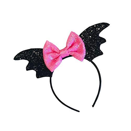 Accessoires Fledermaus Kostüm - thematys Fledermaus Haarreif schwarz und rosa Schleife - Accessoire für Erwachsene & Kinder perfekt für Karneval, Halloween & Cosplay (Rosa Schleife)