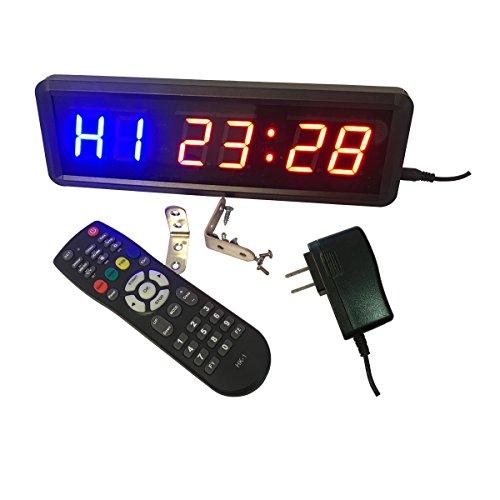 ledgital Gym Intervall Timer 3,8cm Hohe Charakter Crossfit Uhr für Workouts Größe 27,9x 8,9x 3,6cm Fernbedienung Bedienung Innenbereich nur UK-Stecker