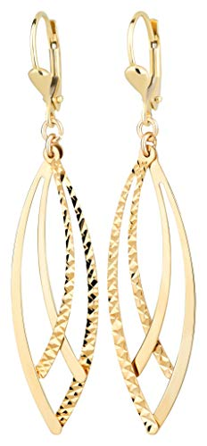 Ardeo Aurum Damen Hänge-Ohrringe aus 333 Gold Gelbgold Brisuren Hänger ohne Stein hochglanz-poliert oval Stäbchen