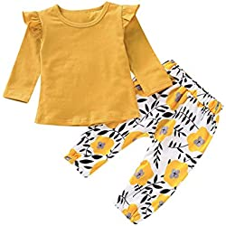 Poachers Ropa Bebé Niña Invierno en Oferta 2 pcs/Conjuntos Bebé Niña Recién Nacido 0 a 18 Meses Otoño Pijama Blusa T-Shirt Bebé Manga Larga Camisa Primavera + Pantalones Flor