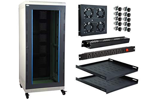 MASS RACK 27U 600X600mm Network Rack with PDU 6 Socket, Server Tray(2 Nos), Cable Organiser 1U Closed, 4 Fan & Hardware Kit – Combo Pack
