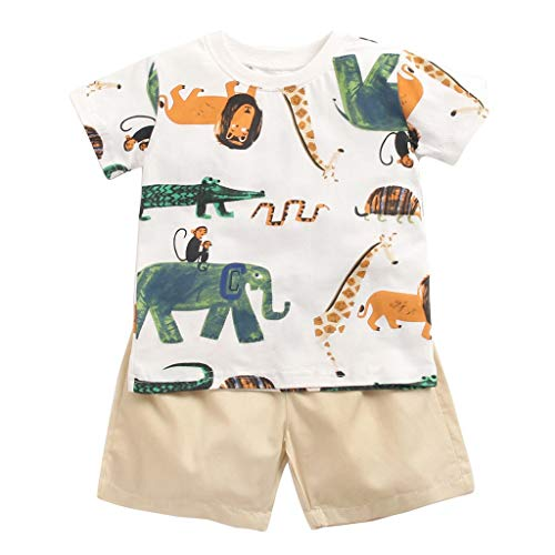 wuayi  Baby Jungen Kleidung Set, Jungen Kurzarm Cartoon T-Shirt + Shorts Hosen Hemd, Bekleidungssets für Baby Jungen 0-3 Jahre -