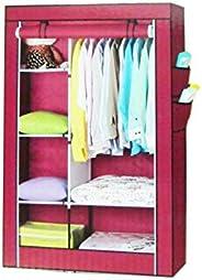 Cloth Cabinet Portable Wardrobe Organizer, Non Woven Fabrics Cupboard Red Color