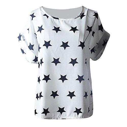 Moollyfox Femmes Imprimé Fleur Col Rond en Mousseline de Soie à Manches Courtes T-Shirts Hauts Blanc Noir Étoile