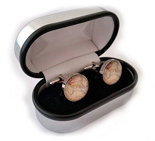 SilverFox - Gemelli da polso con mappa del mondo, in confezione regalo, World 4, Taglia (Mens Sterling Silver Eagle)