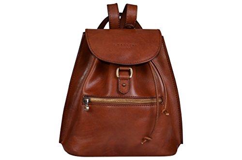 Chellini Firenze Damentasche Luxus Italienische Rucksack , Echt Leder, Kleine Lederrucksack, Ledertasche. Stadtrucksack (Braun) (Echtem Medium Leder Italienischen)