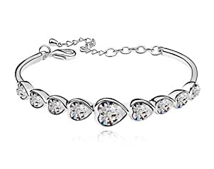 Silver Shoppee Rhodium Plated Crystal Studded Alloy Chain Bracelet For Women