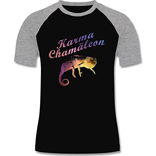 Statement Shirts - Karma Chamäleon - zweifarbiges Baseballshirt für Männer Schwarz/Grau Meliert