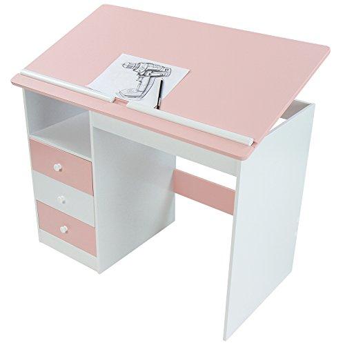 Mesa de escritorio infantil blanca rosa con tablero - Tablero para escritorio ...