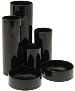 Deflecto Desk Tidy with 6 Compartment Tubes Black