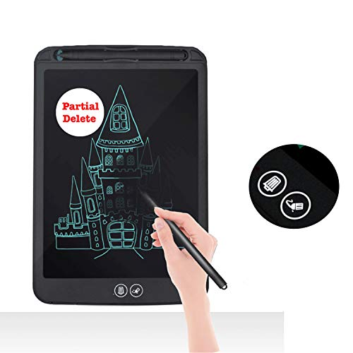 Proffisy E Pad LCD Writing Tablet Partial Delete With Selective Erasure Function 8.5 Inch Electronic Writing Board Doodle and Scribble Board Magnetic Notes For Kids Adults With 2 Magnet (8.5 inch - Erasure - Black)