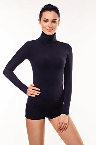 MD Basic Figurformender langärmlig Rollkragen T-Shirt Thermo Unterwäsche Taille Bauch und Büste BodyShaper Large Schwarz (Rollkragen Nylon)