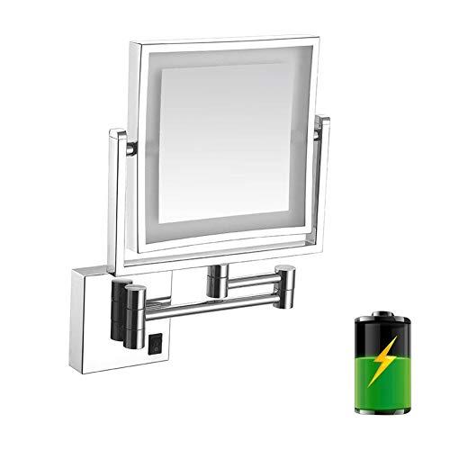CMHZJ Beleuchteter Kosmetikspiegel Wandmontage Doppelseitig 3-fache Vergrößerung 360° Horizontal Schwenkbar Und Vertikal für die Wandmontage für die Wandmontage
