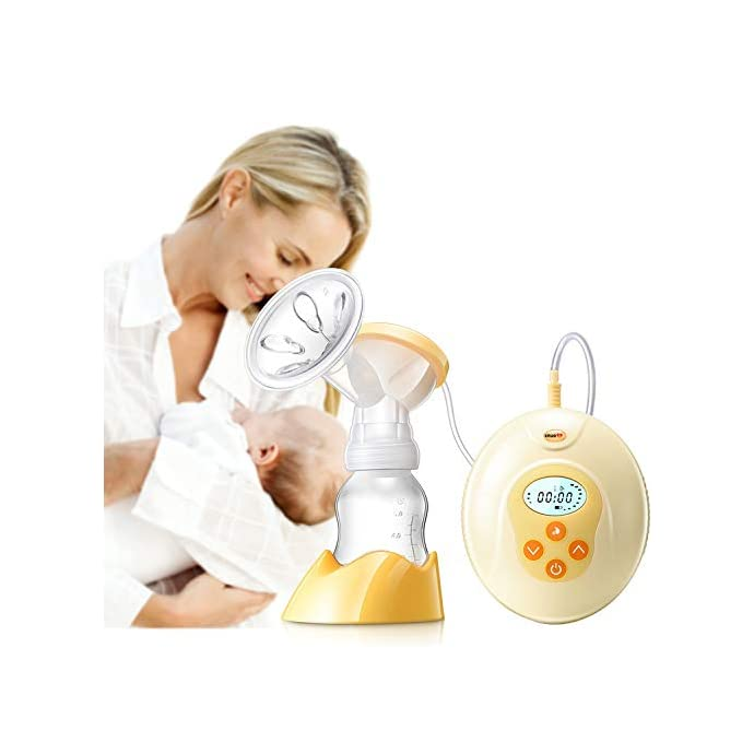 Electric Breast Pump,XNUO S1 Pro Automatic Breastfeeding Pumps Low Noise LCD Nightlight Easy To Install & Clean Breastpump Breast Milk Pump Baby Breast Pumps Set PP Silicone Material BPA Free Medical CE Anti-reflux Large Caliber Breast Shields 3 Levels Stimulation 9 Levels Strong Suction Single Side Portable Breast Express Pump (Yellow)