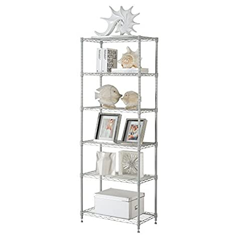 LANGRIA 6-Tier Modern Storage Organisation Rack and Shelving Set with 5 Hooks, 66.1 lbs. Capacity, Silver