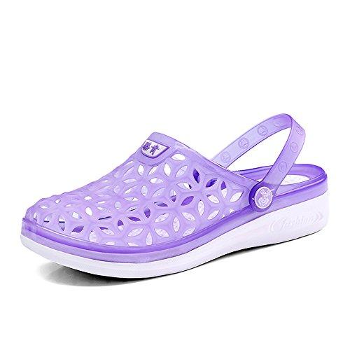 Hishoes Clogs & Pantoletten,Damen Herren Unisex-Erwachsene Translucent Clogs Cutout Clog Hausschuhe Lila