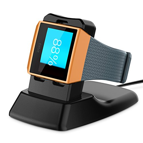 Fitbit Ionic-Ladegerät, Basstop Schnurloses Ladestation-Zubehör Ladehalterung Halterung für Fitbit Ionic Smart Watch - Schwarz
