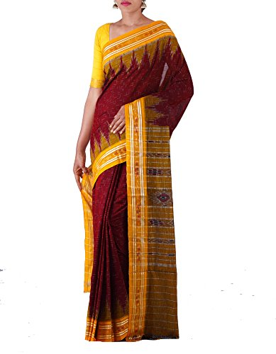 Unnati Silks Women Maroon-Yellow Pure Handloom Sambalpuri Cotton Ikat Saree(UNM22017)