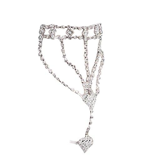 HCFKJ Mode Frauen Mädchen Strass Hand Chain Link Finger Ring Armreif (Silber)