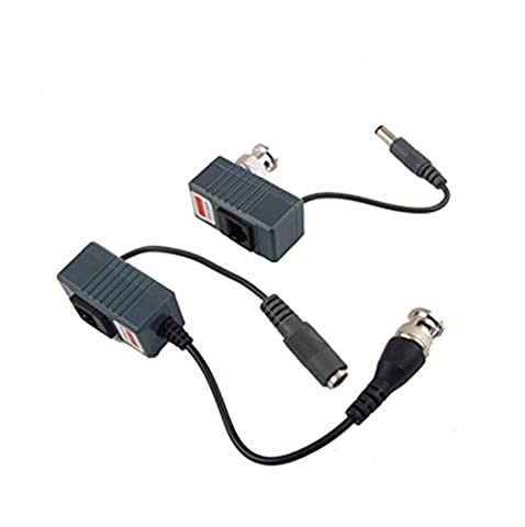 Buwico® 2 x CCTV Camera UTP BNC Male to RJ45 5.5x2.1MM Power Video Balun Transceiver