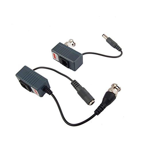 Buwico 2 Stück Video auf RJ45 BNC-Stecker Power Balun Transceiver für CCTV-Kamera,5,5 x 2,1 mm Balun Transceiver Kit