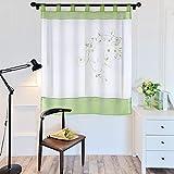 laamei 1Pc Voile Cortina Translúcidas Visillos Cortas con Bordado Floral Decoración para Ventanas Habitaciones Dormitorios Salones Verde, 140cmx175cm