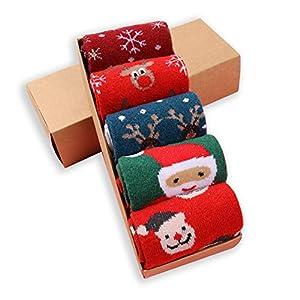 LIKERAINY Ragazze Donna Calzini Lana di Natale Caldo Inverno Confortevole Babbo Natale e Alce 5 Paia 7 spesavip